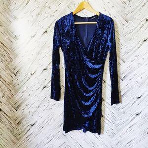 Shein velvet blue wrap dress